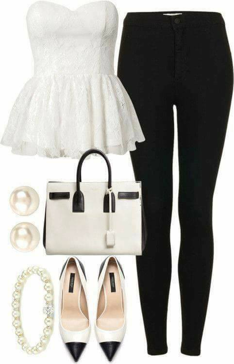elegantni cerno-bily outfit
