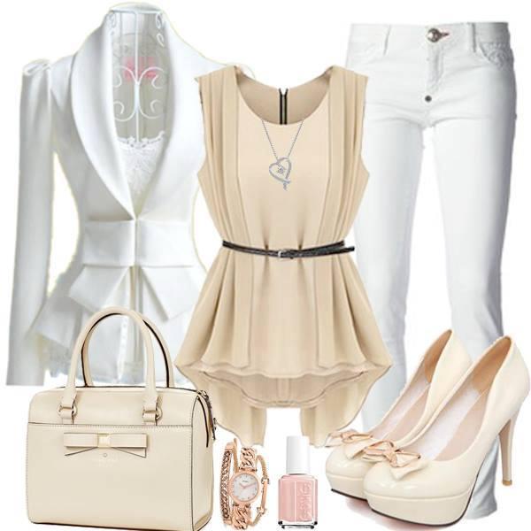 elegantni outfit v bile barve