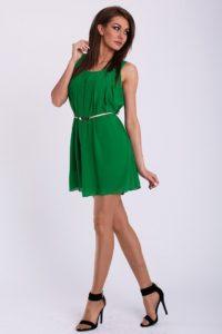 Dámské letní šaty se zlatým páskem PINK BOOM zelené