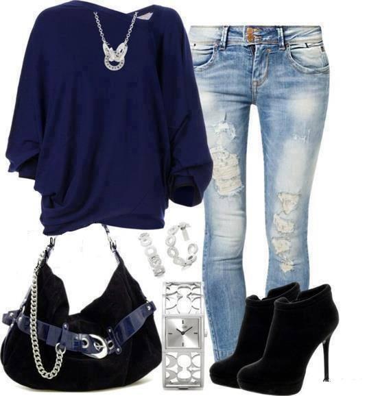 Outfit v modré barvě