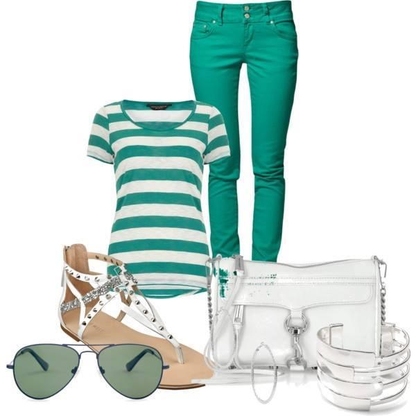 outfit na léto v zelené barvě