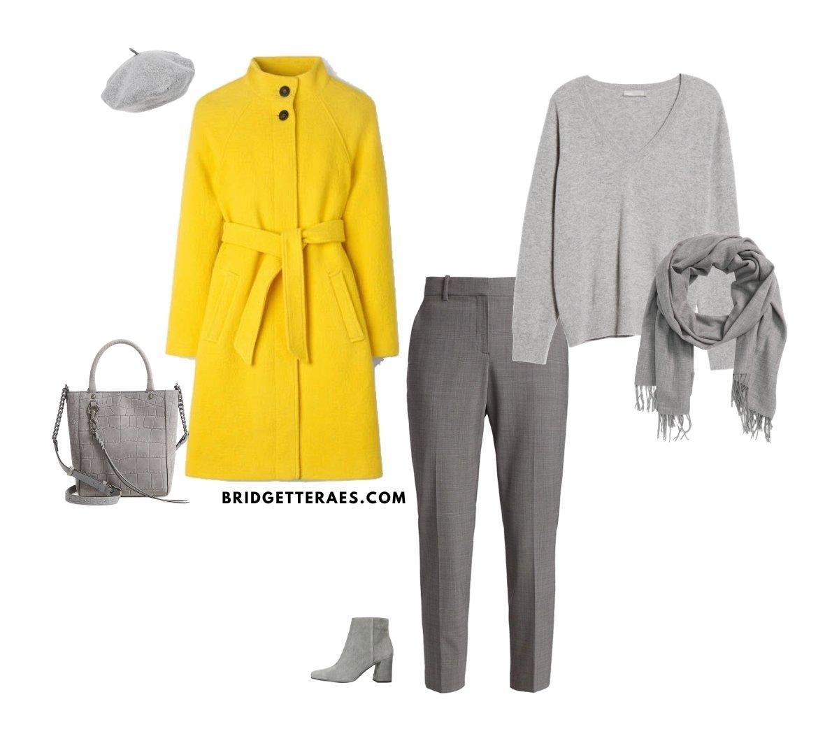 podzimní outfit v barvách roku 2021 - ve žluté a šedé barvě