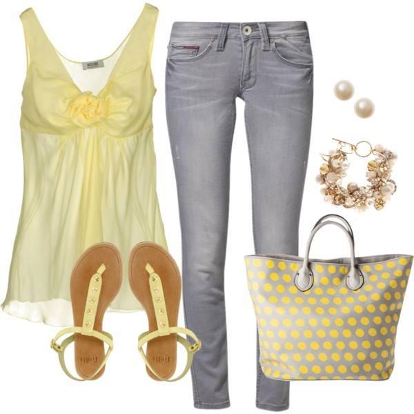 letní outfit v šedé a žluté barvě