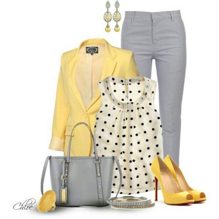 elegantní outfit v žluté a šedé barvě