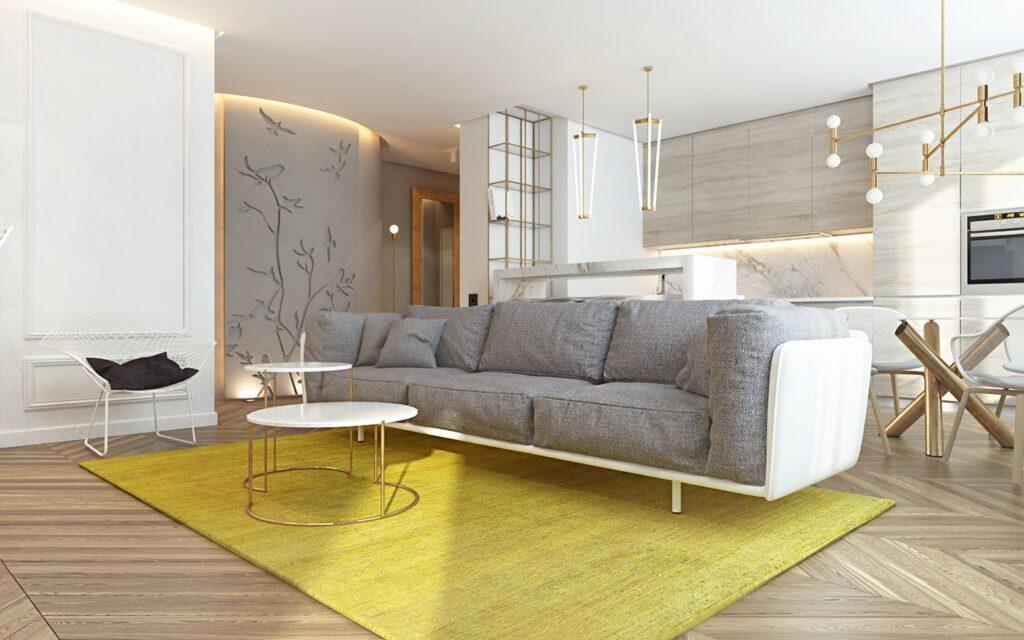 obývací pokoj ve žluté a šedé barvě